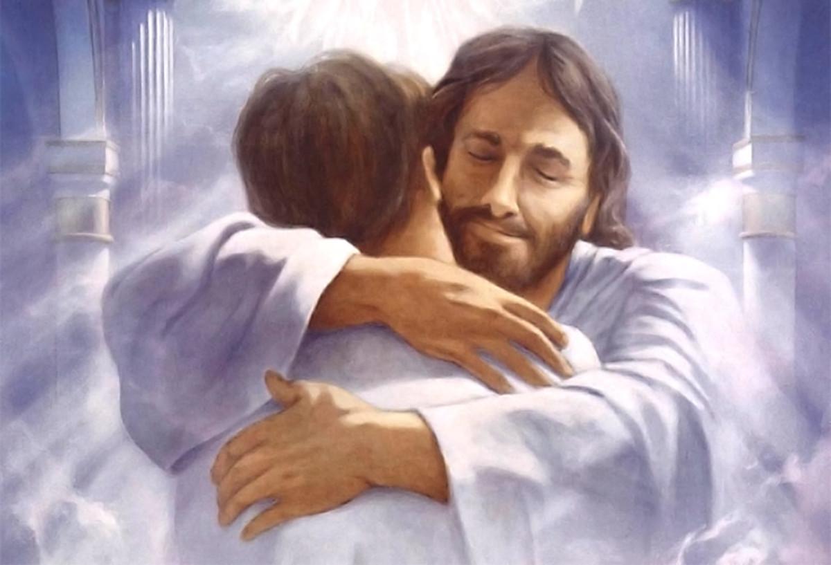 Jesus embraces man