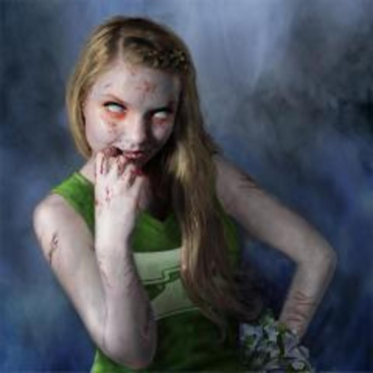 "A zombie waits to greet the freshmen ""bait."""