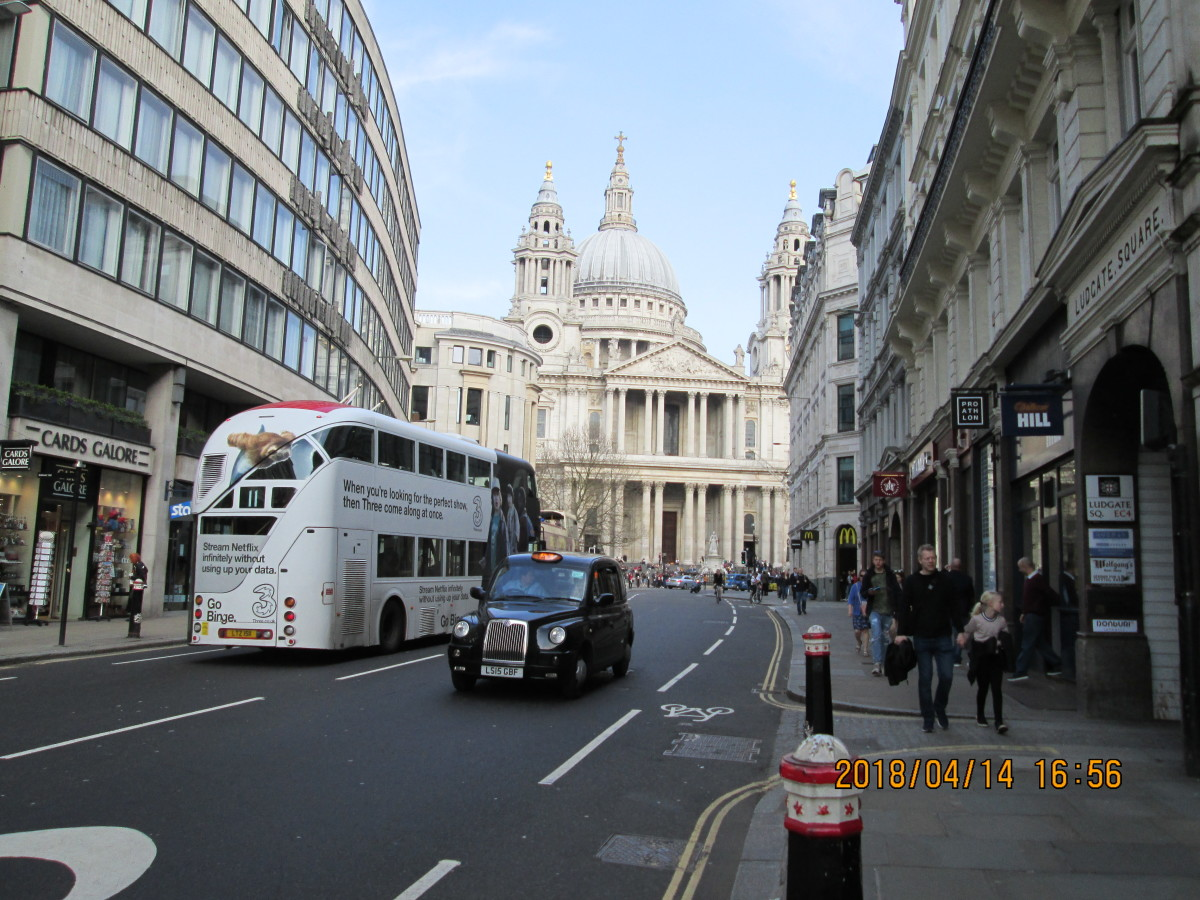 Taken from the same point halfway up Ludgate Hill, the majestic front of St Paul's. Visit the tombs both of Wren and Lord Nelson, and walk the Whispering Gallery around the base of the large cupola