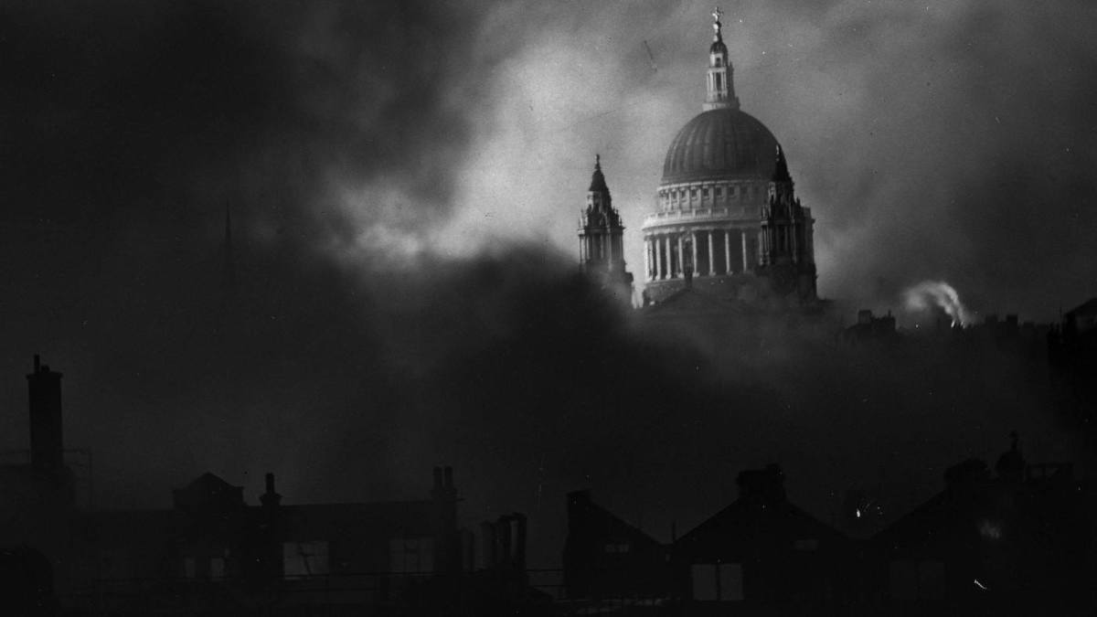 Iconic Herbert Mason picture taken 29th December, 1940 at the height of the 'Blitz'. St Paul's Cathedral was saved from the flames by men of the Fire Brigade from as far off as Southampton to deal with fires on the worst night of the bombing