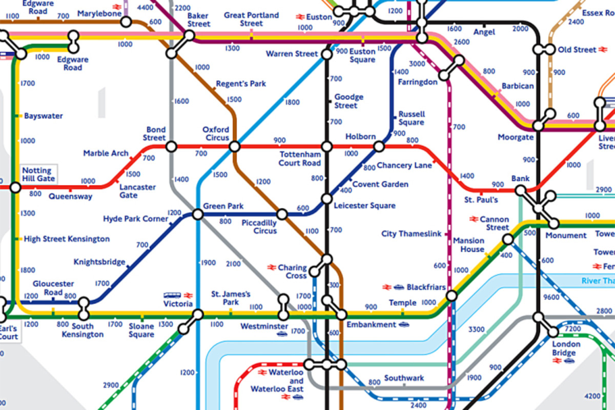London Underground Central Area - Monument Station is on the centre right side, a useful starting point if you want to begin the route shown above