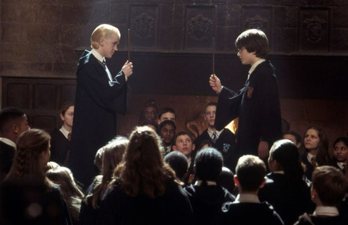 Potter and Malfoy in Lockhart's dueling club.