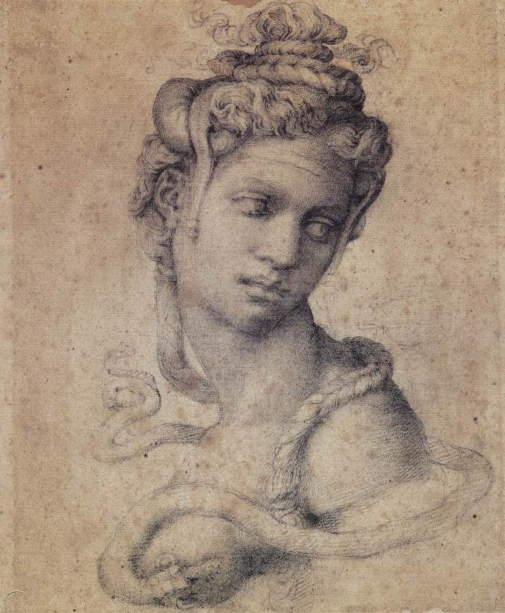 Michelangelo's depiction of Cleopatra. She is seen here with a snake wrapped around her shoulders. The snake was a symbol of Egypt as well as her rumored cause of death.