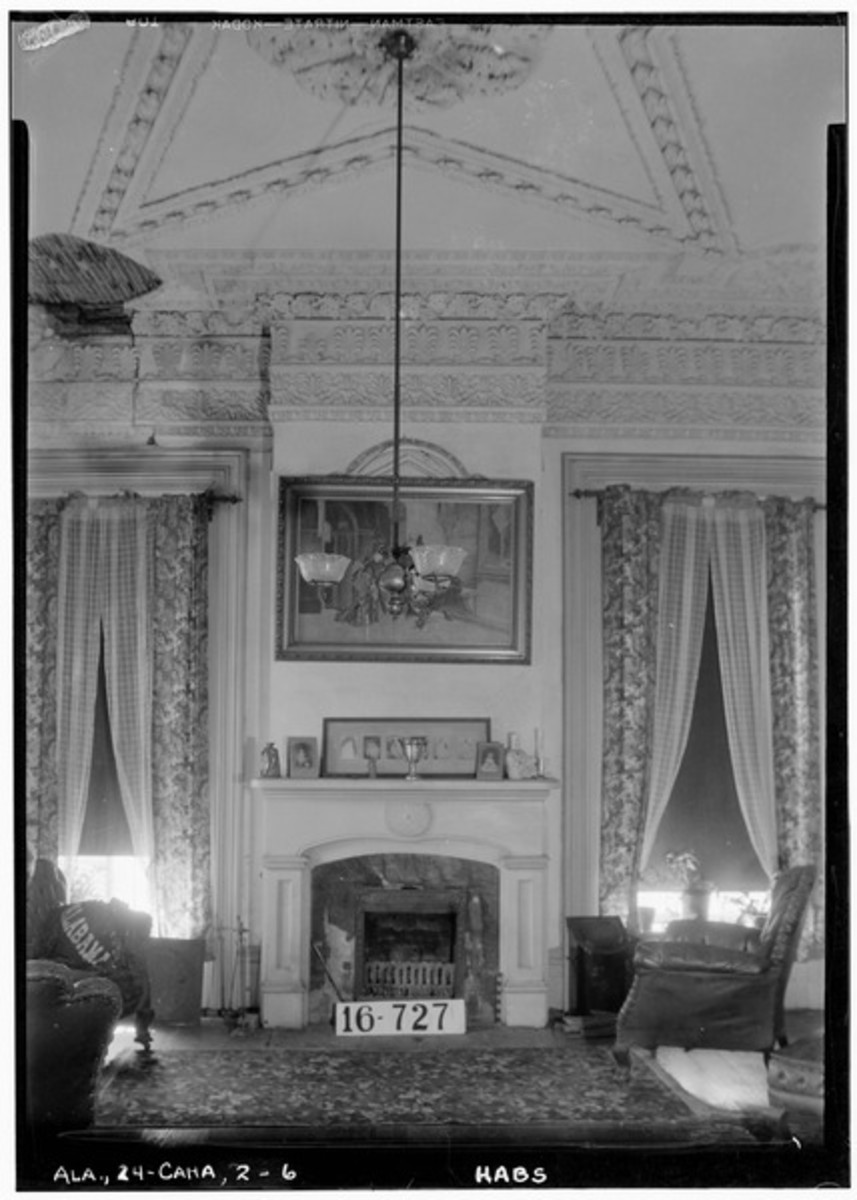 Some say this house is haunted, but Cahaba, Al. is definitely a ghost town. FIREPLACE AND MANTEL (LIVING ROOM) - Kirkpatrick House, Oak Street, Cahaba, Dallas County, AL.