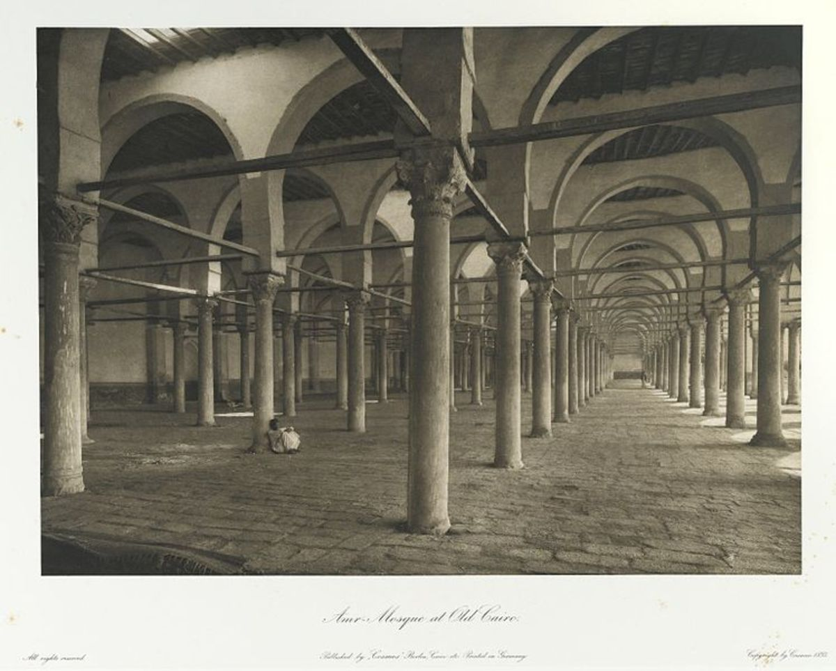 """""""Mosque of Amr in Cairo."""". Printed material. Brooklyn Museum. (Photo: Brooklyn Museum, N376_J95_Heliogravures_pl05_PS1.jpg) Brooklyn Museum Libraries. Presented in memory of Boris Ellison, a lifelong student of ancient Egypt, 1893."""