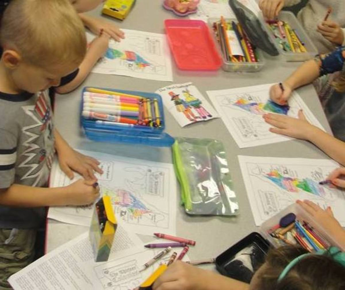 Coloring the 13 colonies while singing their names