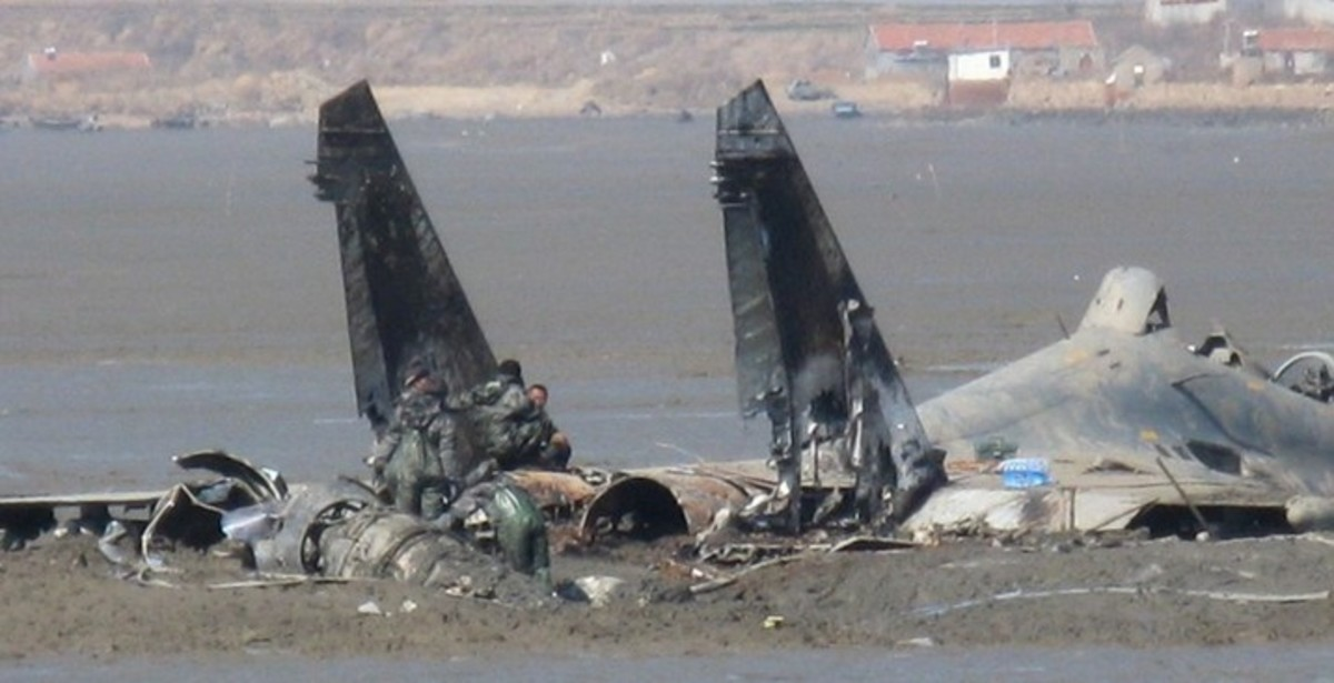 """Wreckage of the """"Flopping Fish"""" after it crashed."""