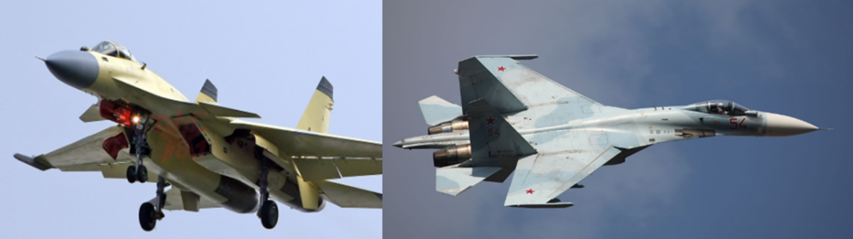 "The J-15 (left) and the Sukhoi 27 ""Flanker""."