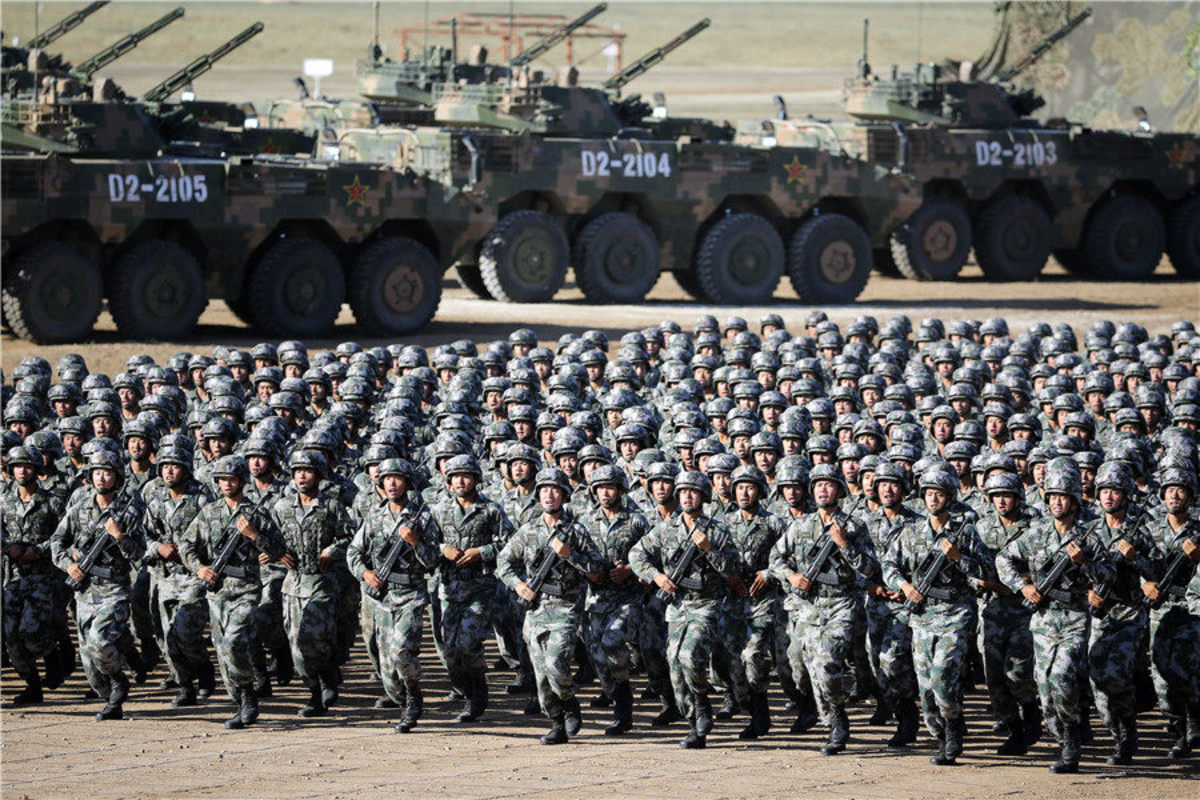Chinese troops in a PLA parade.