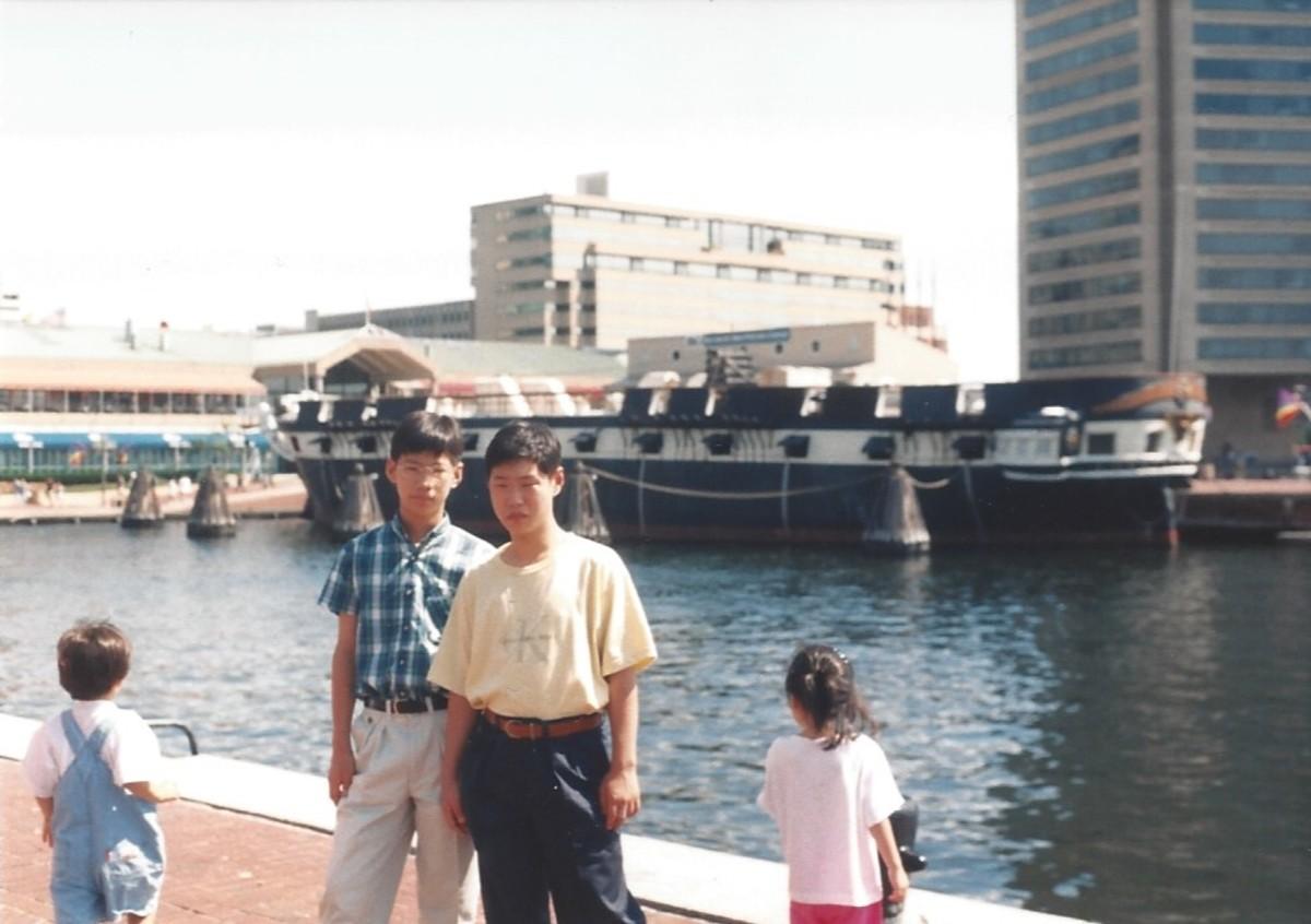 Baltimore Inner Harbor, 1996, The USS Constellation was undergoing restoration.