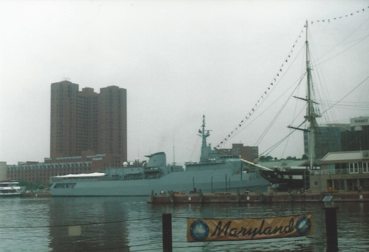 The Brazilian Navy Ship, Brazil at the Inner Harbor, Baltimore.  Sometimes ships from other places come by for a visit.