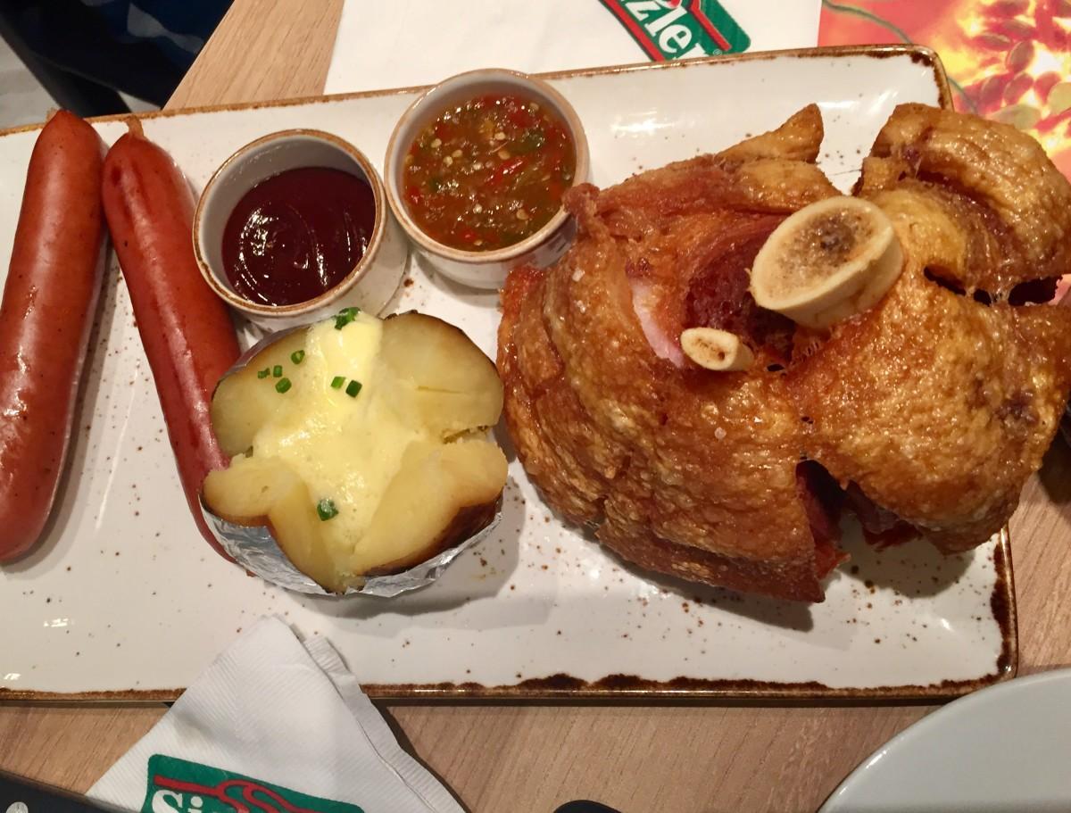 Sizzler: fried German pork legs