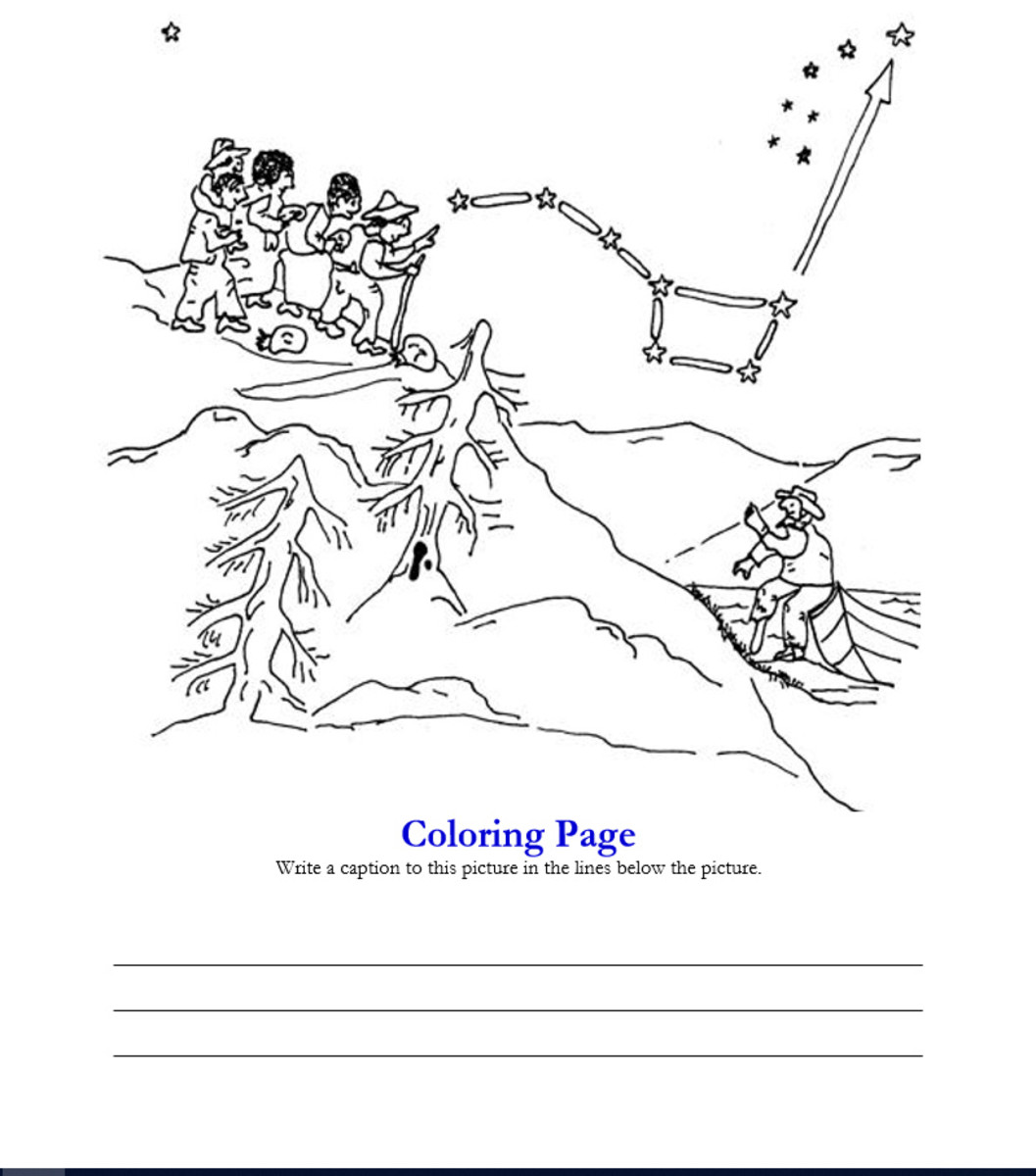 Follow the Drinking Gourd coloring page from http://www.northern-stars .com/