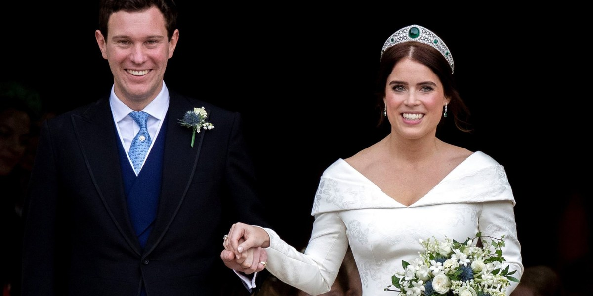 Princess Eugenie wears tiara on wedding day.