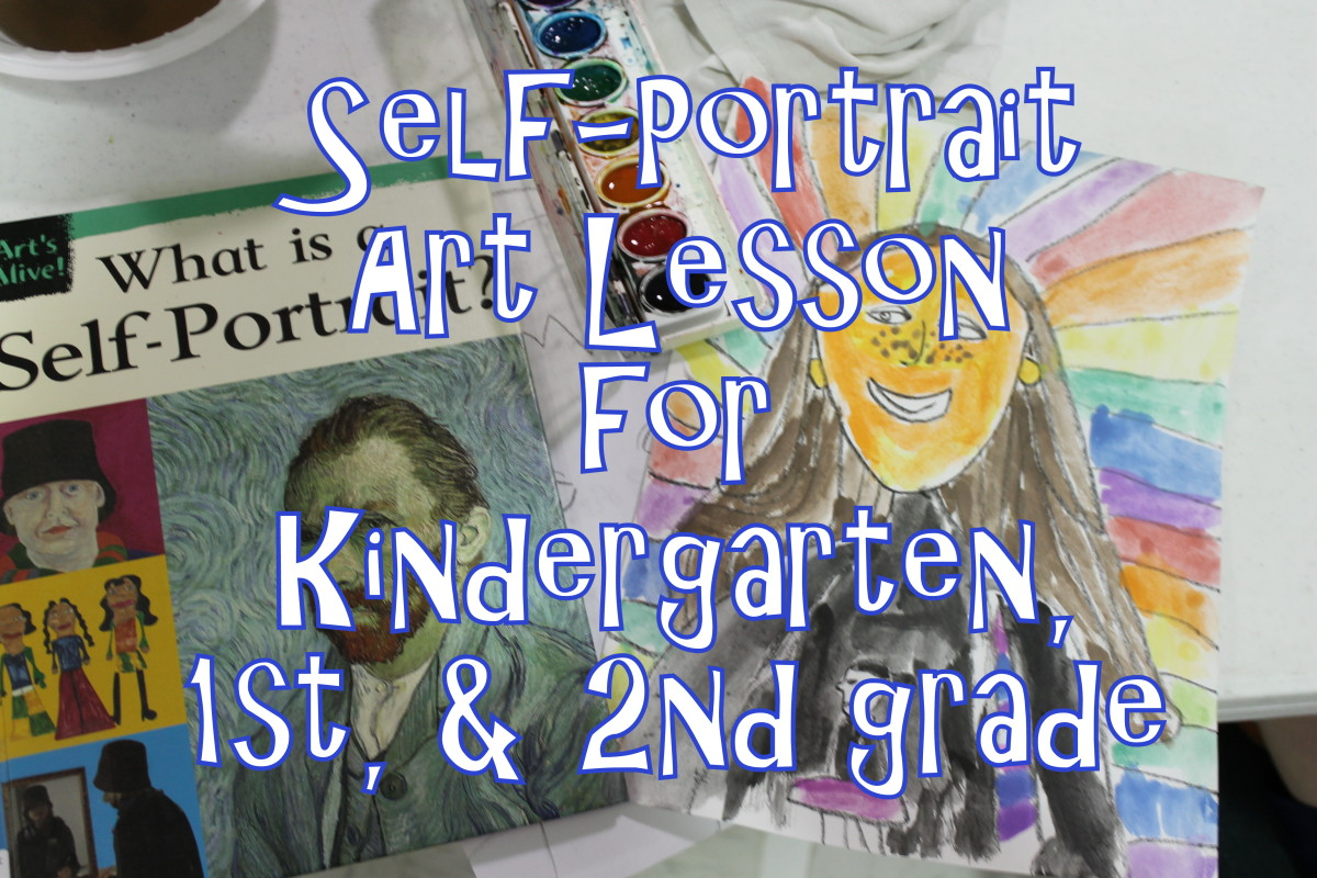 Self-Portrait Lesson for Kindergarten, 1st grade, & 2nd grade elementary children for the first day of art class
