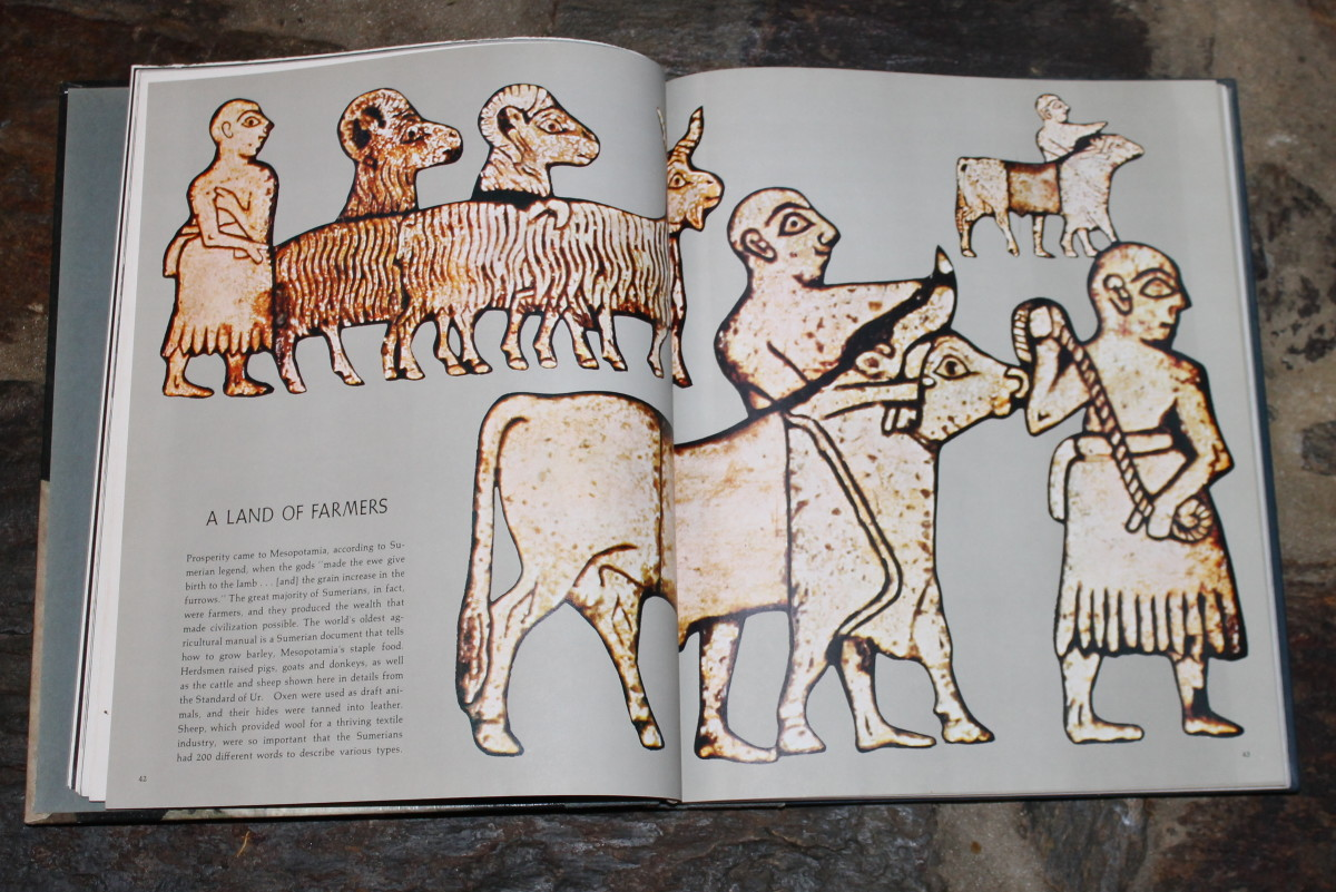 Sumerian picture of shepherds and sheep  from Great Ages of Man: Cradle of Civilization by Samuel Noah Kramer (Time-Life Books)