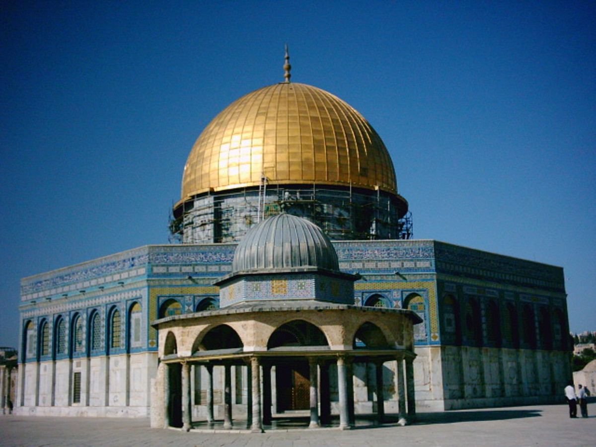 The Dome of the Rock in Jerusalem is one of the most important sights in the Islamic World and was first completed in 691 AD by Umayyad Caliph Abd al-Malik.