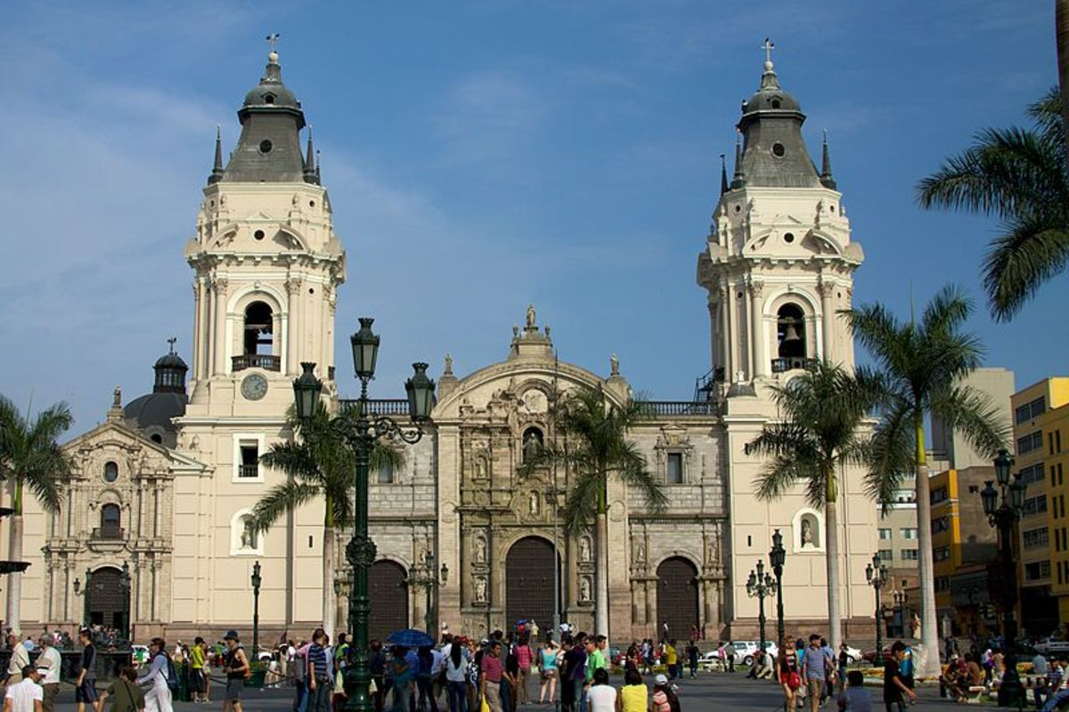 The legacy of the Spanish Empire is reflected in the widespread Spanish language and also in architecture. This is the Cathedral of Lima, Peru that was originally constructed by the Spanish.