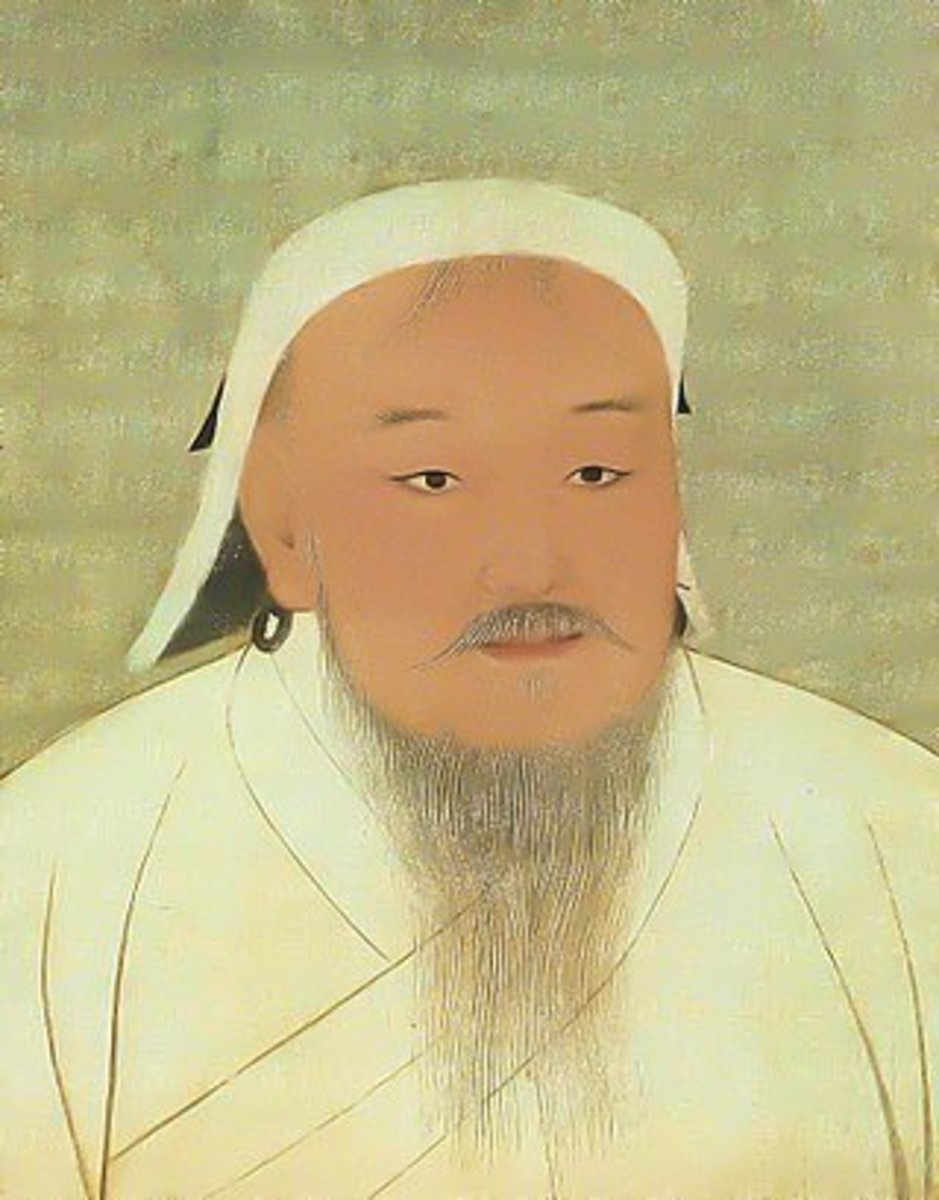 A portrait of Genghis Khan, the founder of the Mongol Empire.