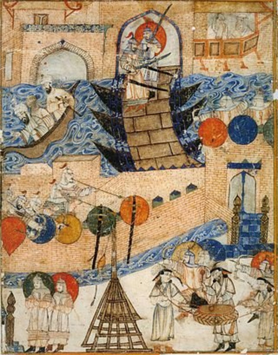 A painting depicting the Siege of Baghdad in 1258 AD by the Mongols.