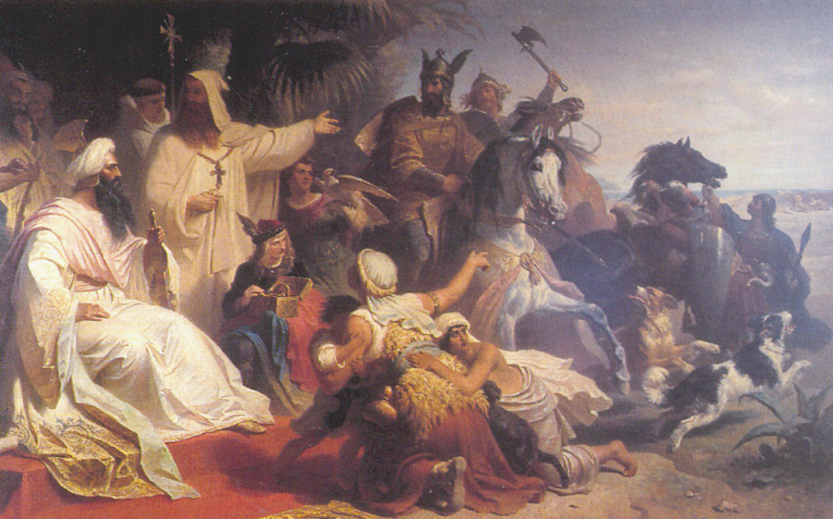A 19th Century painting depicting Harun al-Rashid, the fifth Abbasid Caliph receiving a delegation from Charlemagne, King of the Franks in Baghdad.