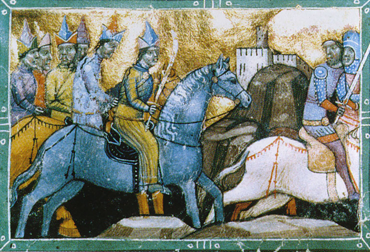 A painting showing Hungarian King Bela IV fleeing from the Mongols in 1241 AD.