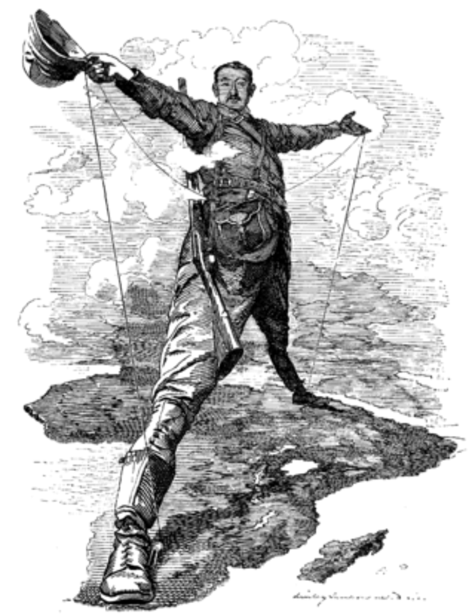 A sketch from Punch magazine depicting Cecil Rhodes as the Rhodes Colossus stretching from Cairo in the north to the Cape in the south.