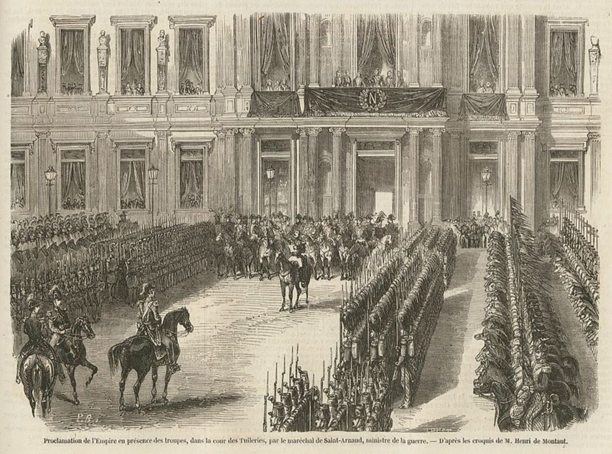 A painting depicting the official declaration of the Second French Empire on the 2nd December 1852 at the Hotel de Ville, Paris.