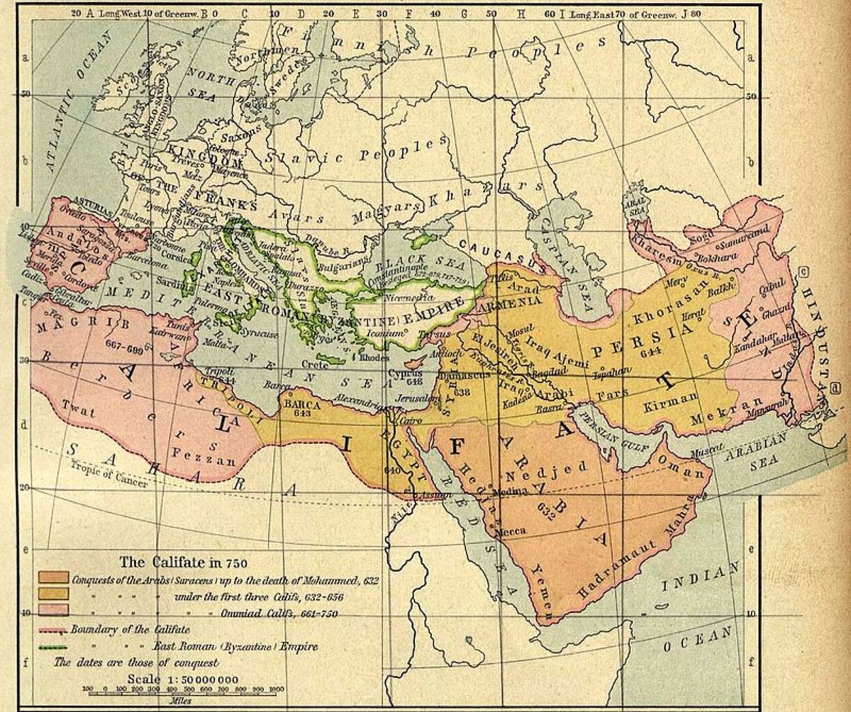 A map showing the state of the Umayyad Caliphate in 750 AD, the year they were replaced by the Abbasid Caliphate.