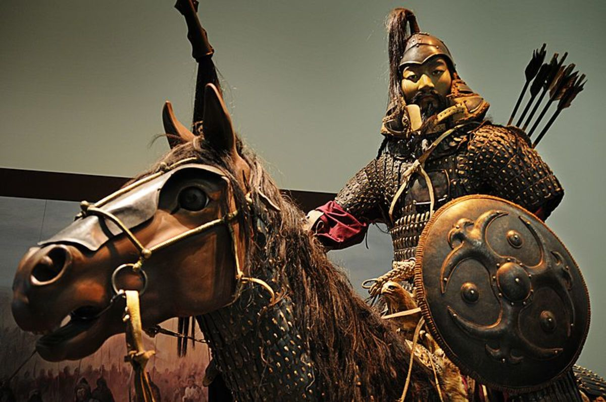 A full reconstruction of a mounted Mongol warrior.