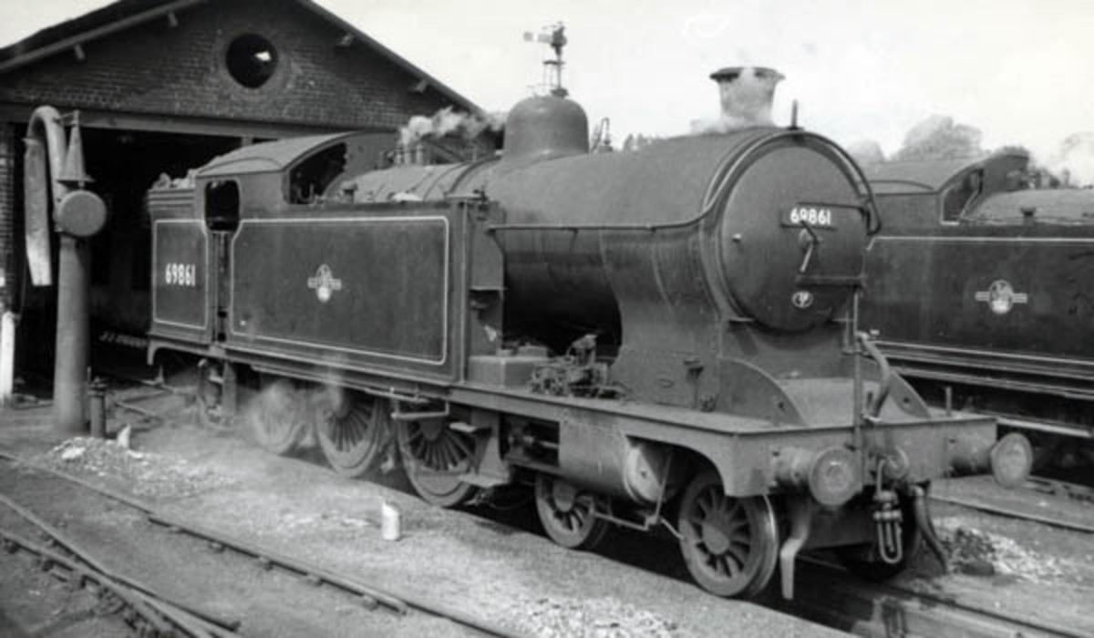 Class A8 69861 4-6-2 Tank locomotive rests at Malton mpd before returning home to Whitby. None of the class saw preservation, with efficient scrap dealers in the North