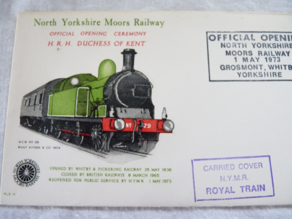 First day cover, official opening of the North York Moors Railway by the Duchess of Kent, 1st May, 1973. She was accompanied by Lord Normanby, Lord Lieutenant of North Yorkshire when she arrived by car in Pickering