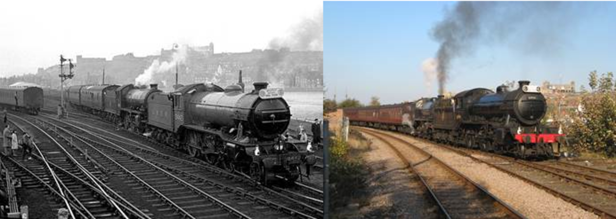 Viscount Darnock's K4 'Great Marquess' had been repainted in LNER livery as 3442, and with K1 62005 (since taken over by NELPG) took the North Yorkshire Moors Tour around the lines to be closed early in 1965 - and here's the part re-enactment in 2014