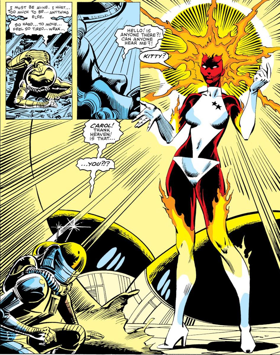 Panels from Uncanny X-Men #164. Debut of Carol Danvers as Binary