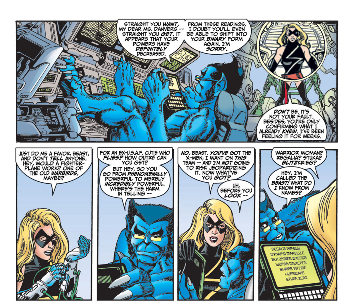 Beast confirms that Carol Danvers' powers have been reduced and that she can no longer manifest into her Binary form. Thus, a new name is in order. (Panels from Avengers #4 1998).