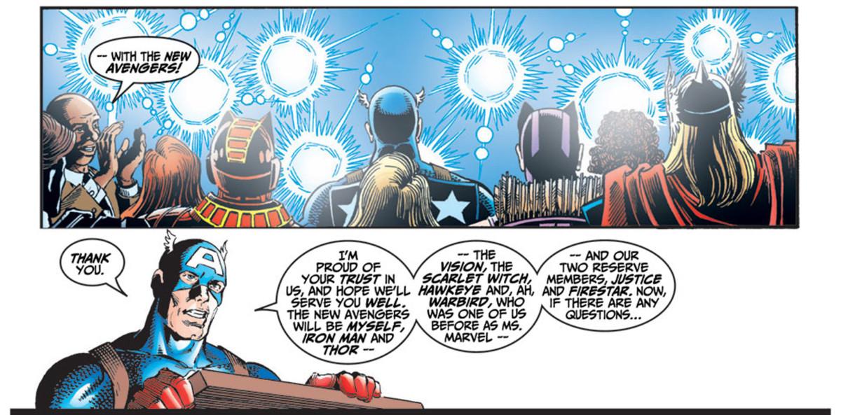 Panel from Avengers #4 1998 series. Carol Danvers debuts as Warbird.