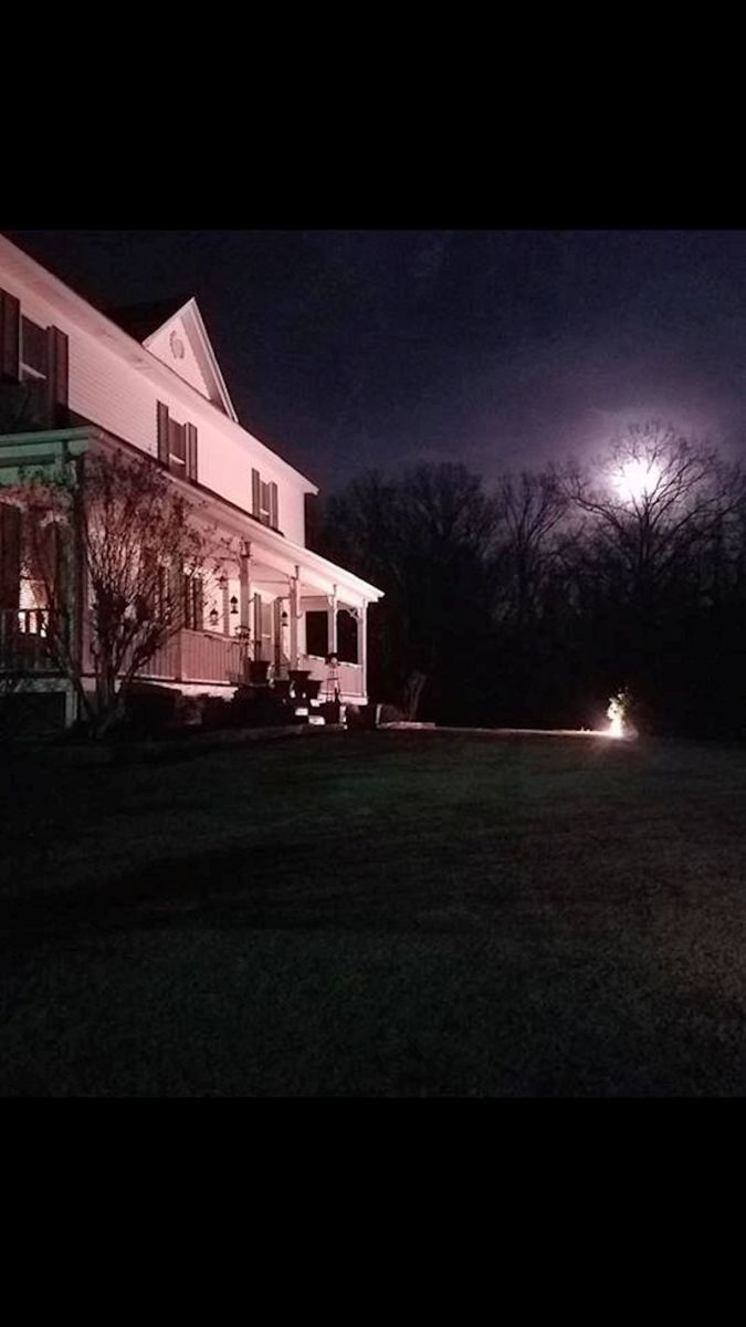 The Beville house at night