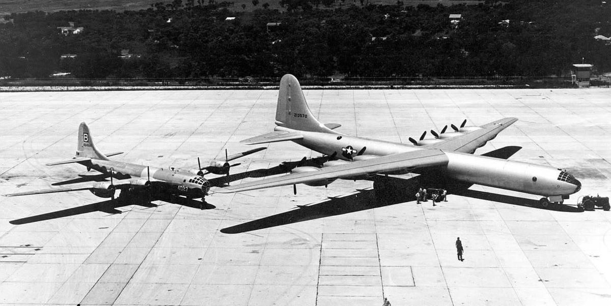 The size comparison of the B-29 vs the B-36.