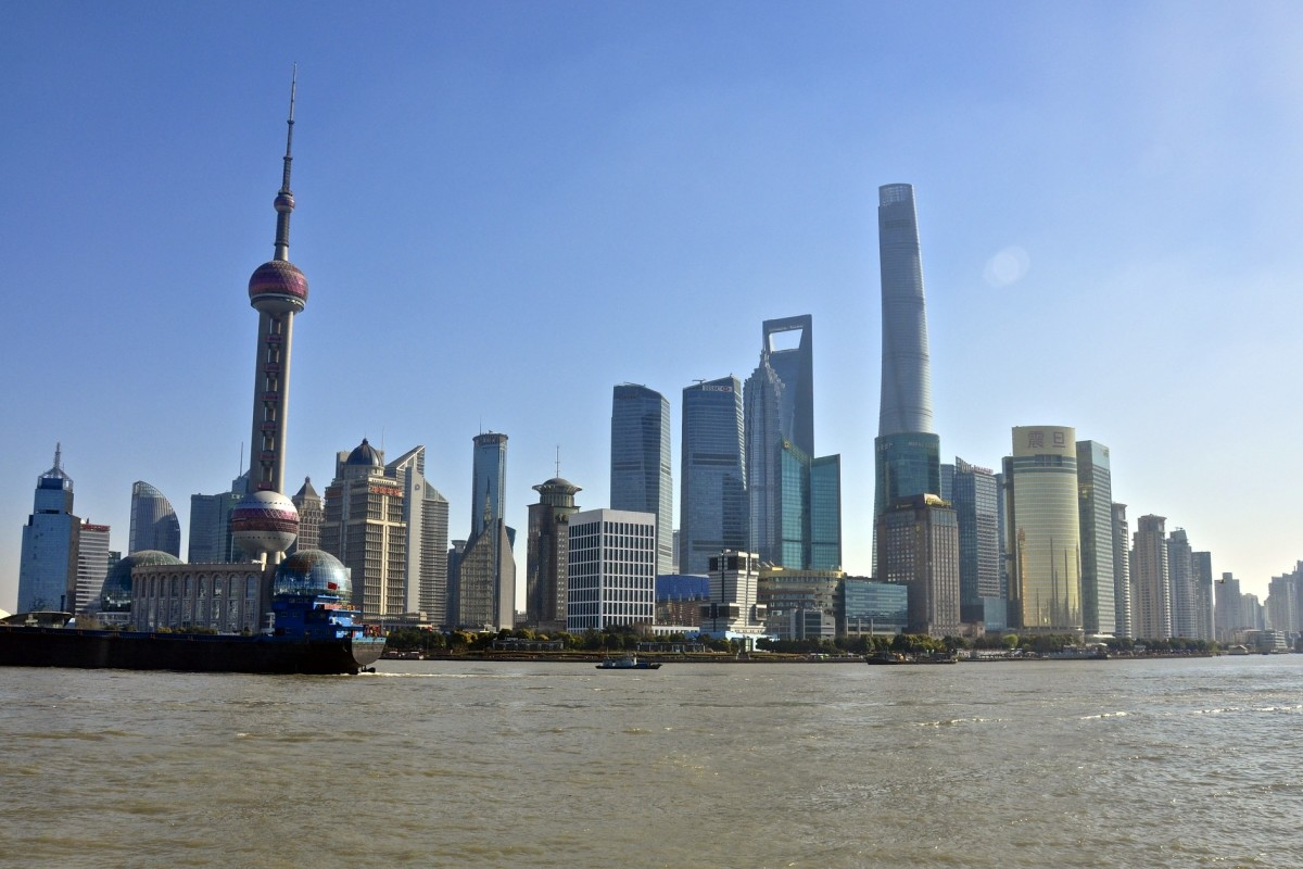 A view of the Shanghai Central Business District/Pudong District from the west side of the Pudong River. British concession buildings are directly behind.