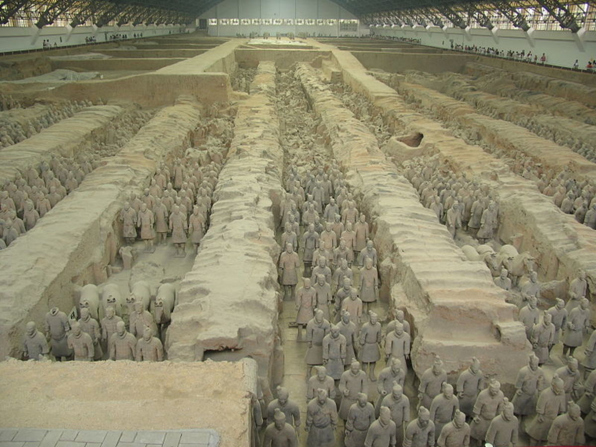 The Terracotta Army's pit 1 contains 4,000 infantry and 50 chariots.  The museum has been built over the pit to protect the army from natural elements.