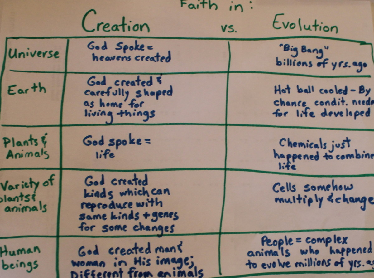 """Faith in Creation vs. Faith in Evolution Chart from """"It Couldn't Just Happen: Knowing the Truth About God's Awesome Creation"""" by  Lawrence O. Richards"""
