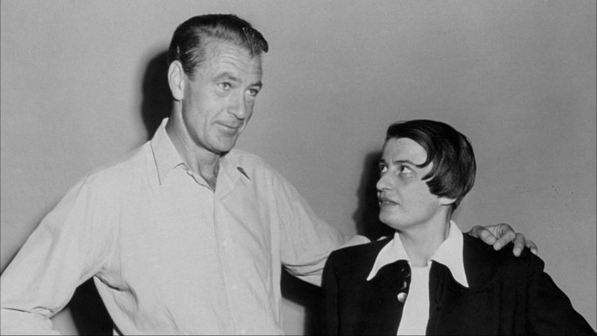 """Gary Cooper played Harold Roarke in the movie """"The Fountainhead"""" (1949), based on the novel """"The Fountainhead"""" (1943) by the Russian libertarian and objectivist Ayn Rand (1905-1982) (right)."""