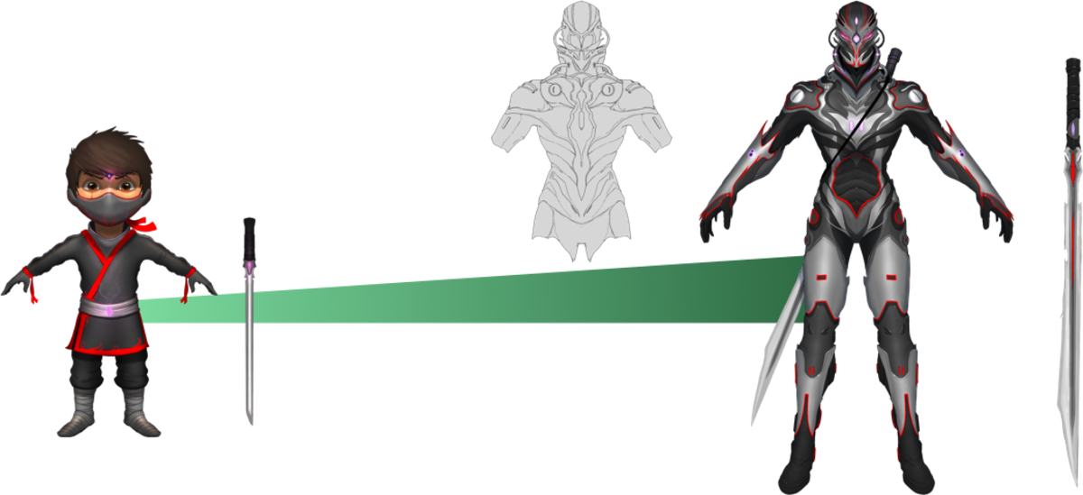 Concept Art and Evolution of the Ninja for the 10,000 Stretch Goal. This is the Normal skin.