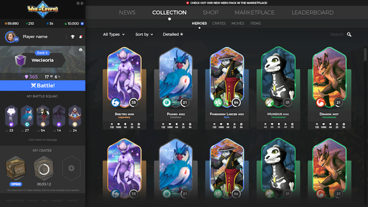 War of Crypto Inventory and Hero Selection