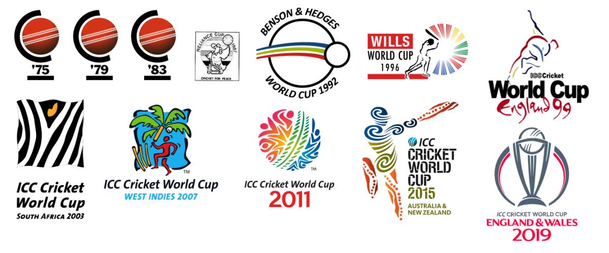 ICC Cricket World Cup Logos (1975-2019).