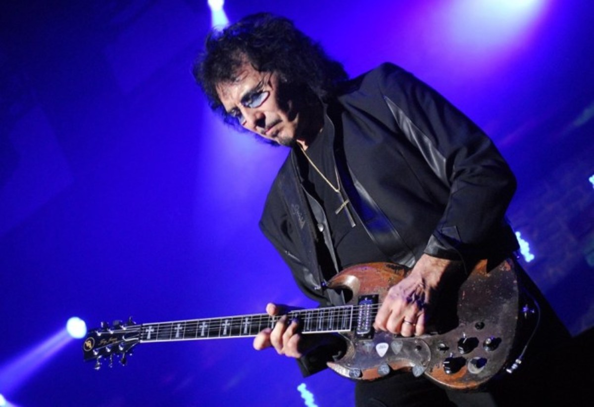 The father of heavy metal music, Tony Iommi, and one of his SG guitars.