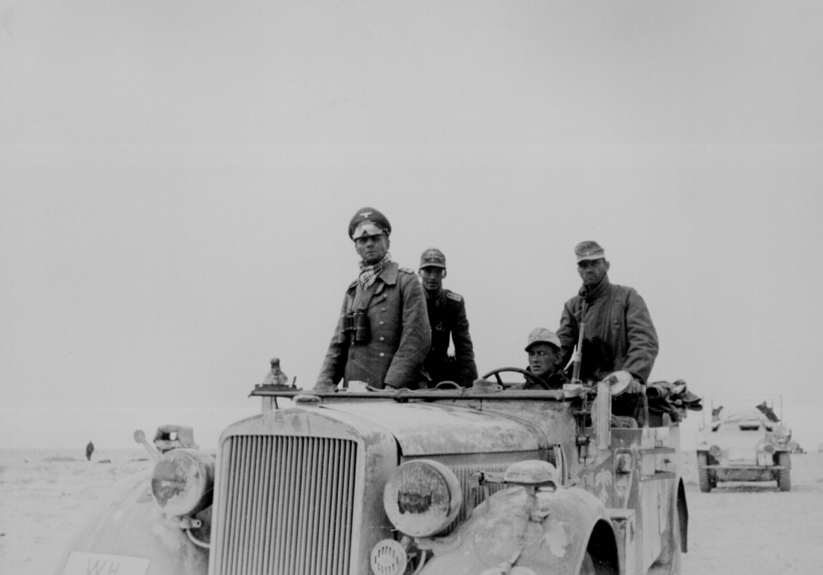 """Rommel the """"Desert Fox"""" on the move in North Africa spring 1942."""