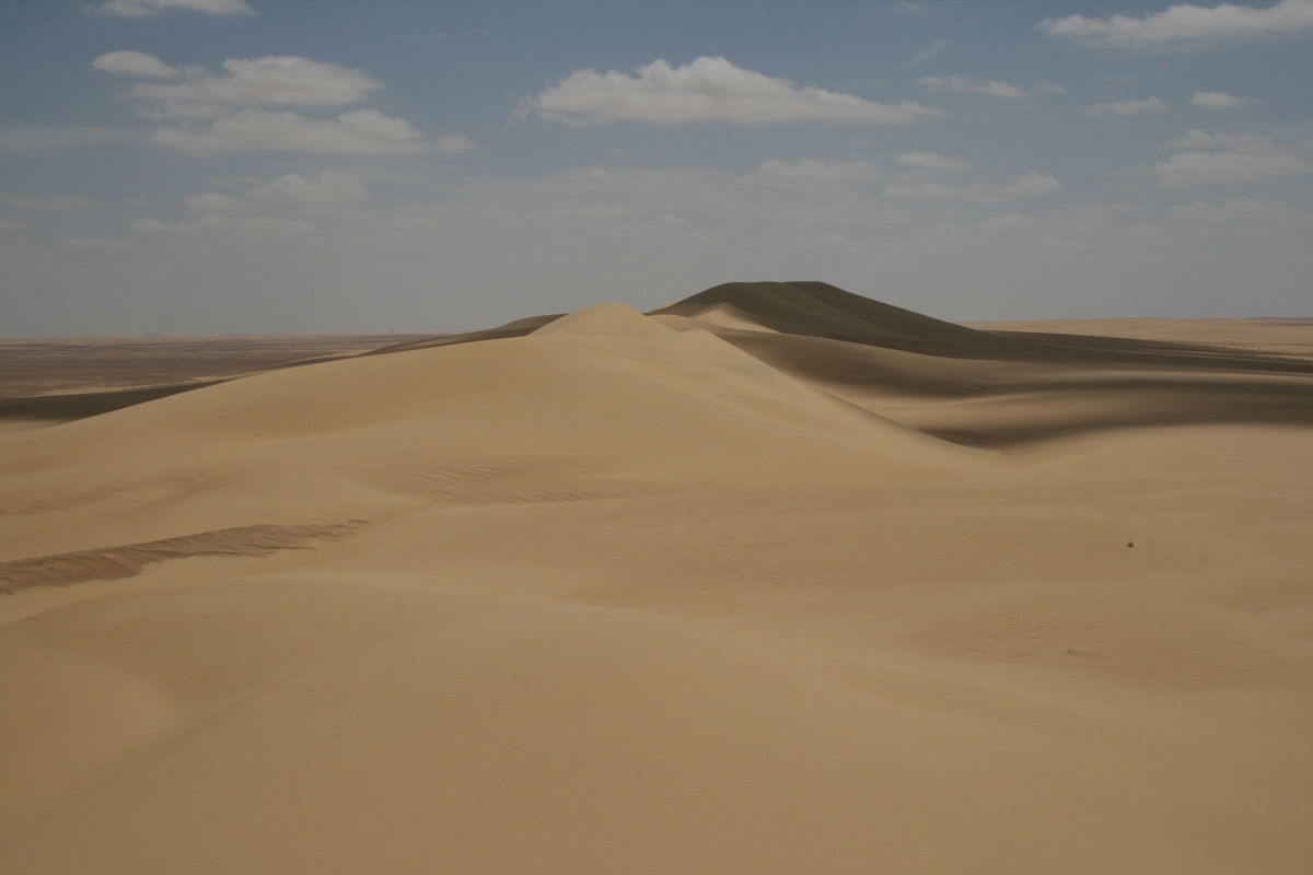 The Qattara Depression the largest in the world. The Qattara Depression lies 436 feet below sea level, and its bottom is covered with salt pans, sand dunes, and salt marshes.