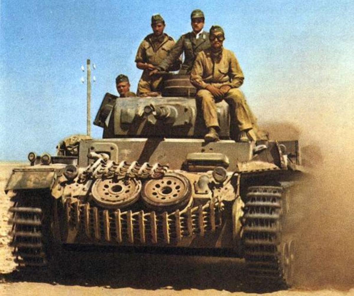 German Panzer MK III tank on the move in North Africa February 1942.