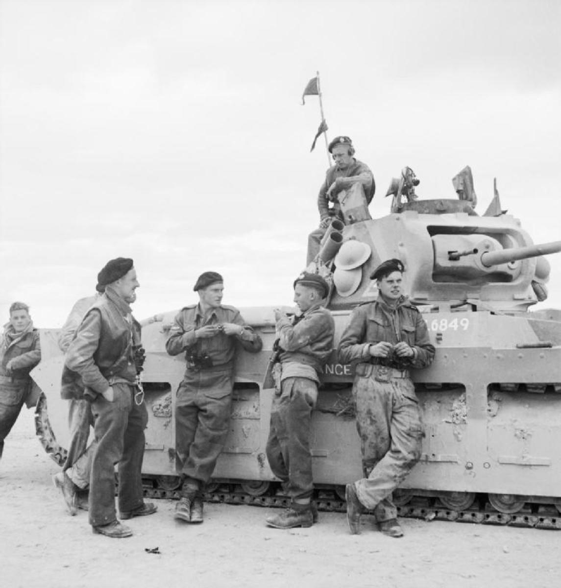 The British Matilda tank in North Africa 1942 Its heavy 78mm-thick armor made it immune to Italian weapons.